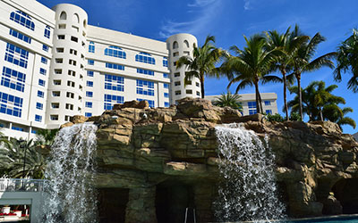 exterior waterfall at Seminole Hard Rock Hotel & Casino - Hollywood, FL